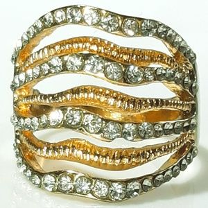 NEW Multi Band Gold Plated Layered Ring with CZ